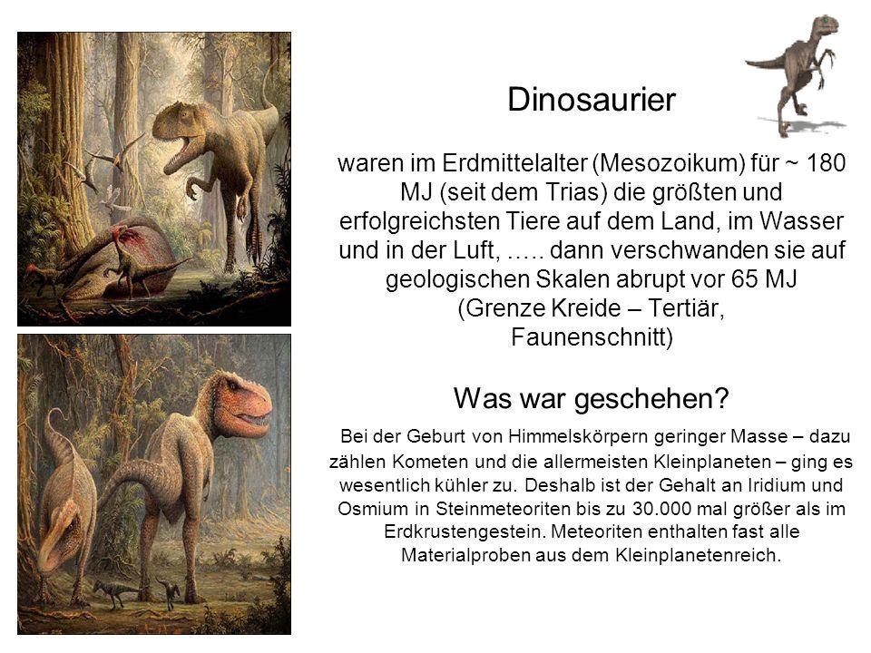 Dinosaurier waren im Erdmittelalter (Mesozoikum) für ~ 180 MJ (seit dem Trias) die größten und erfolgreichsten Tiere auf dem Land, im Wasser und in der Luft, …..