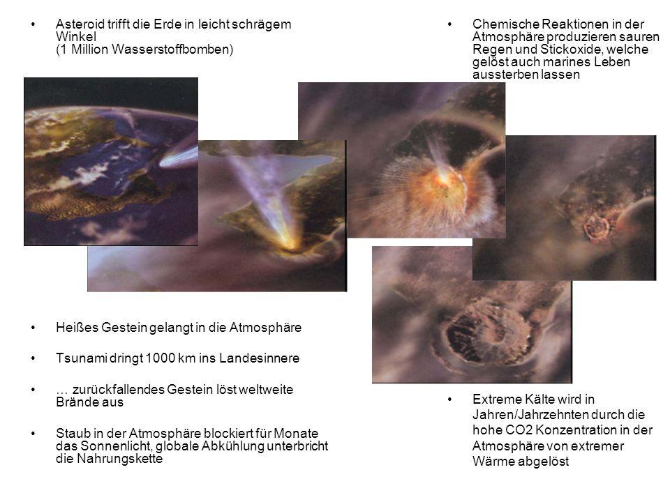 Asteroid trifft die Erde in leicht schrägem Winkel (1 Million Wasserstoffbomben)