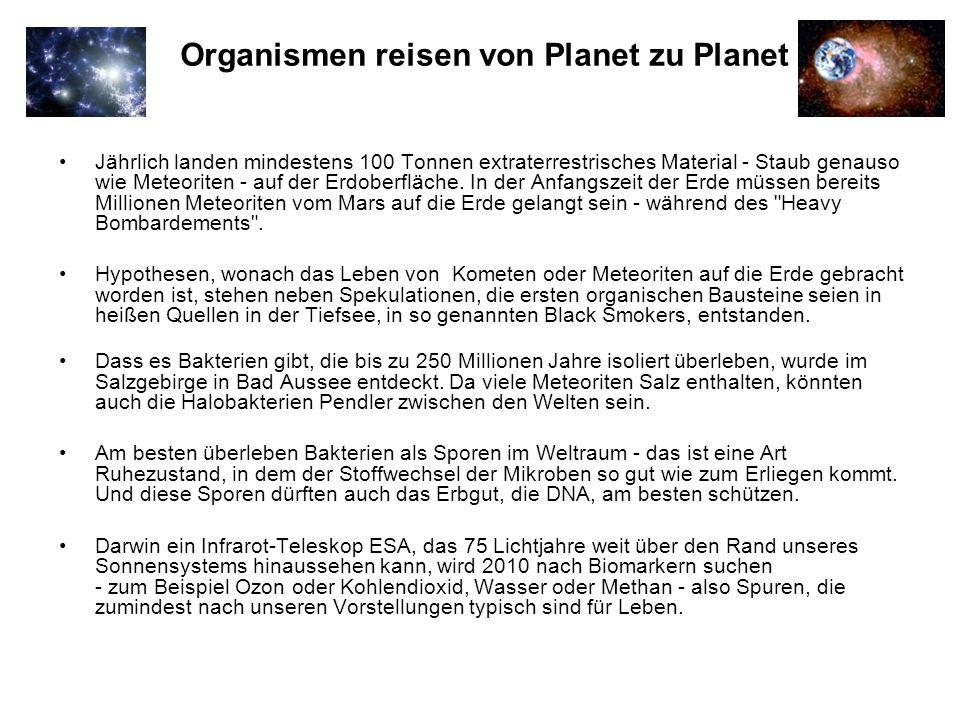 Organismen reisen von Planet zu Planet