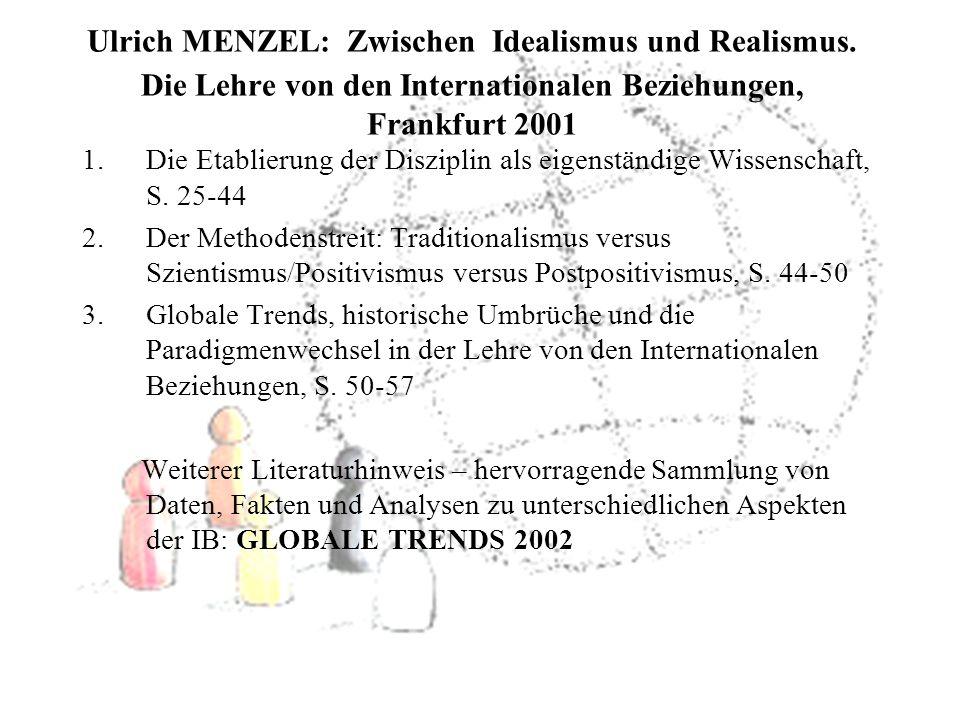 Ulrich MENZEL: Zwischen Idealismus und Realismus