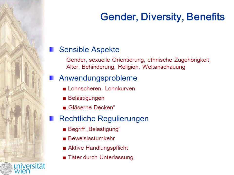 Gender, Diversity, Benefits