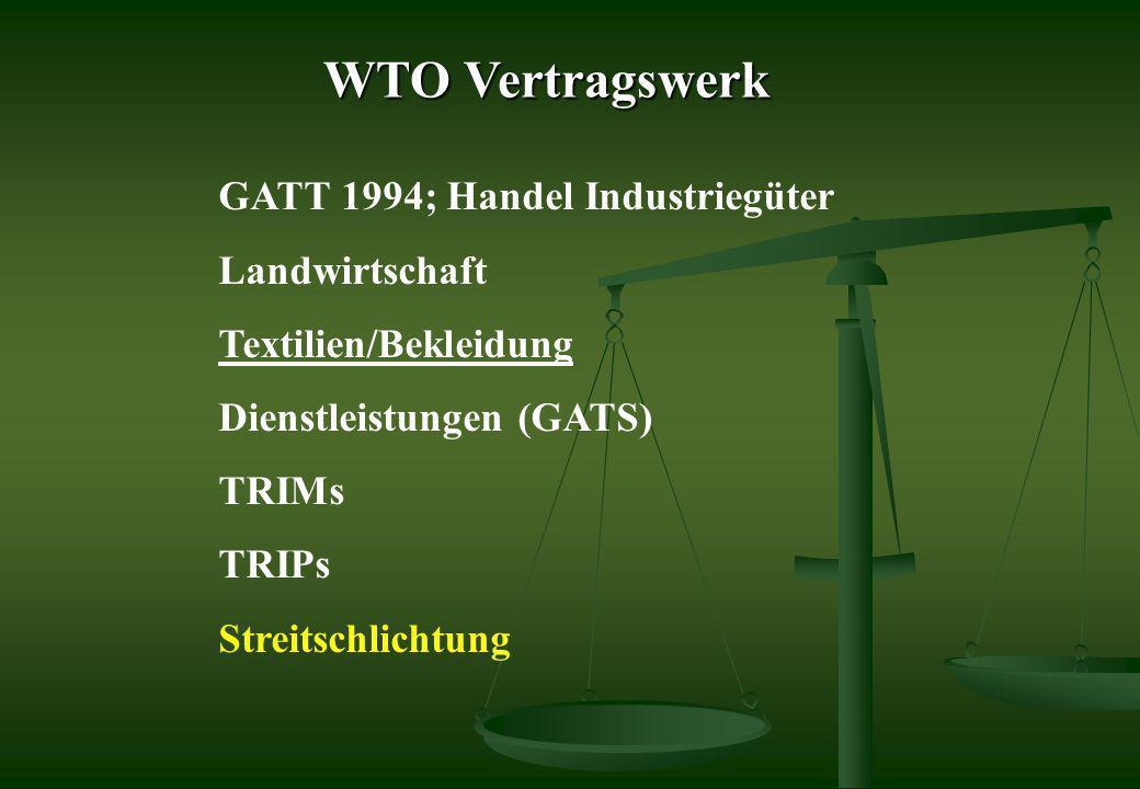 WTO Vertragswerk GATT 1994; Handel Industriegüter Landwirtschaft