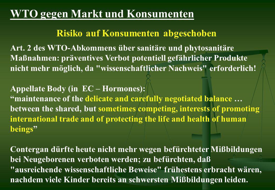 Risiko auf Konsumenten abgeschoben