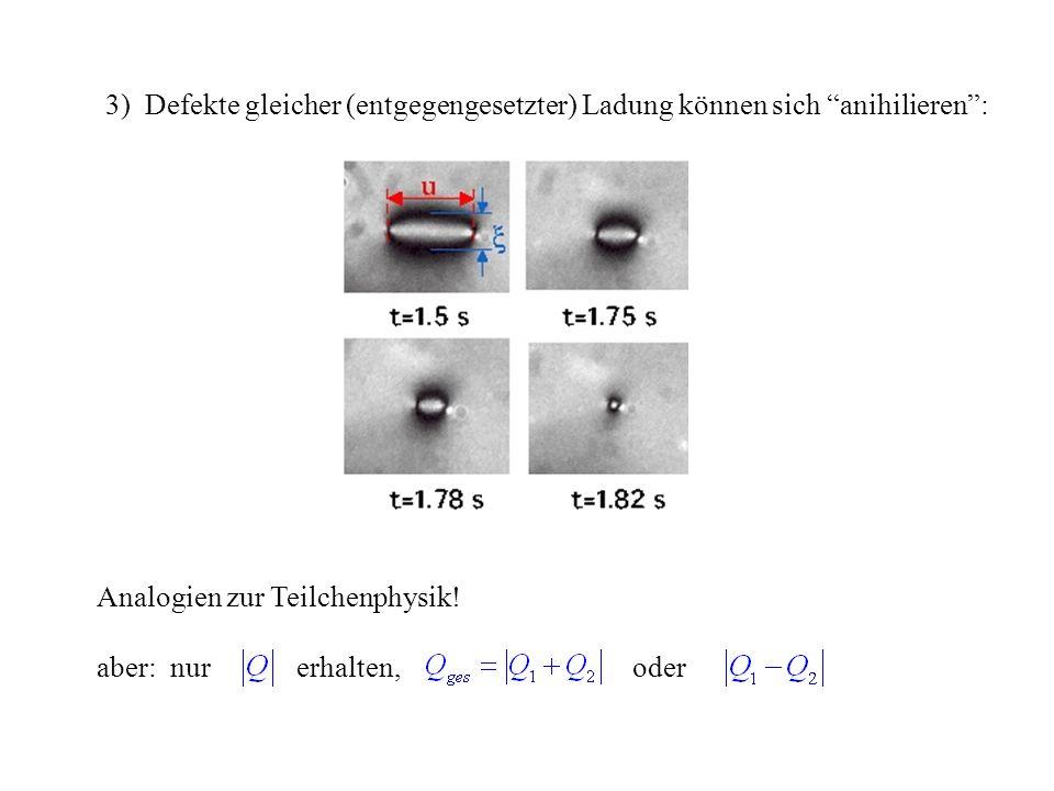 3) Defekte gleicher (entgegengesetzter) Ladung können sich anihilieren :