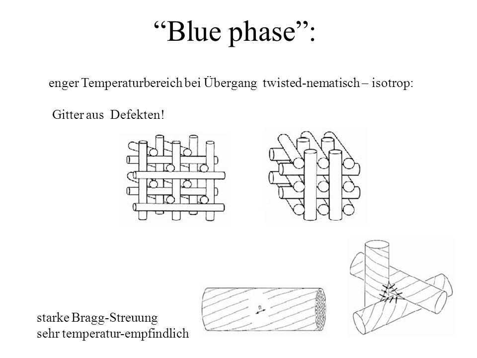 Blue phase : enger Temperaturbereich bei Übergang twisted-nematisch – isotrop: Gitter aus Defekten!