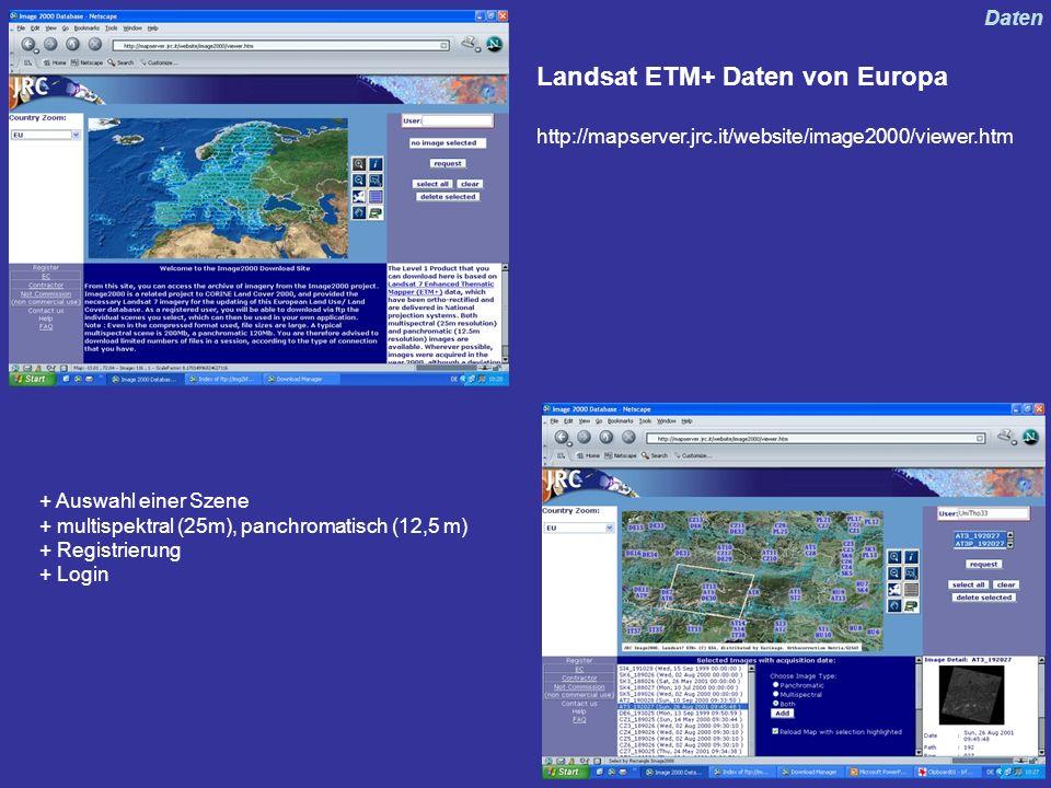 Landsat ETM+ Daten von Europa