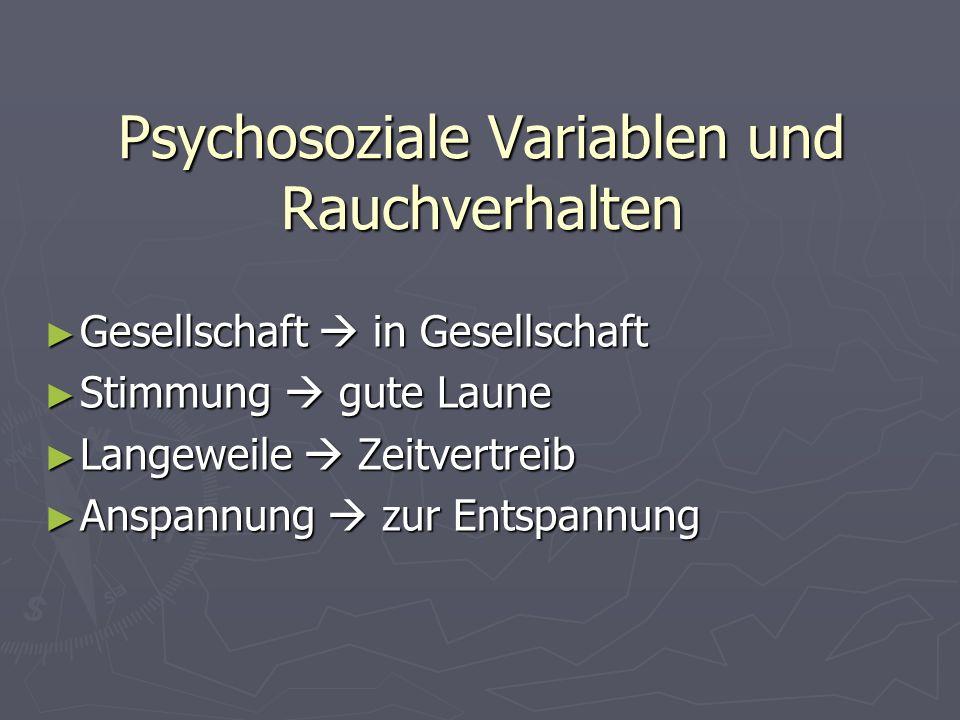 Psychosoziale Variablen und Rauchverhalten