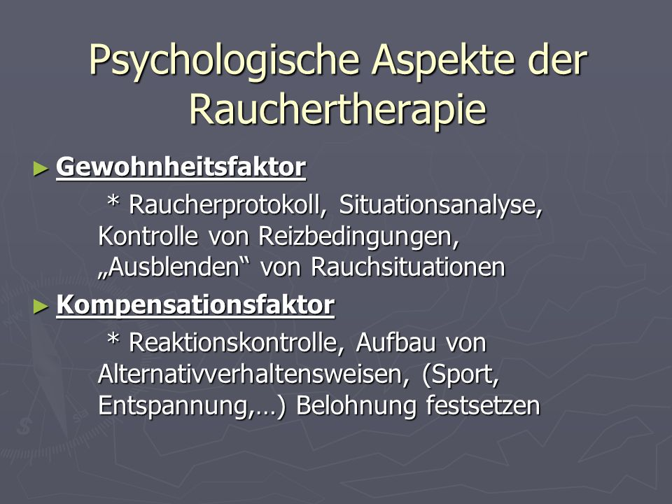 Psychologische Aspekte der Rauchertherapie