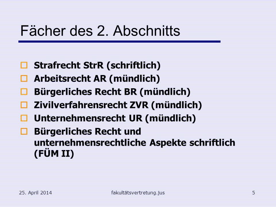 Fächer des 2. Abschnitts Strafrecht StrR (schriftlich)