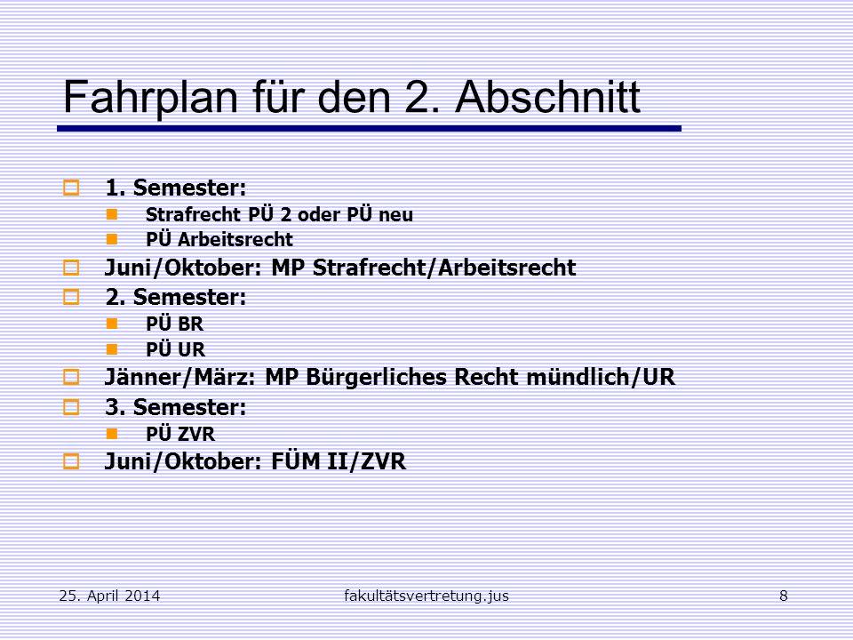 Fahrplan für den 2. Abschnitt