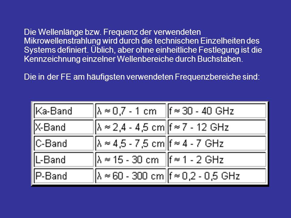 Die Wellenlänge bzw. Frequenz der verwendeten Mikrowellenstrahlung wird durch die technischen Einzelheiten des Systems definiert. Üblich, aber ohne einheitliche Festlegung ist die Kennzeichnung einzelner Wellenbereiche durch Buchstaben.