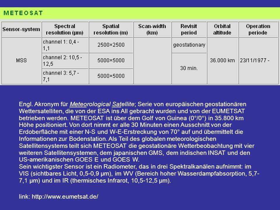 Engl. Akronym für Meteorological Satellite; Serie von europäischen geostationären Wettersatelliten, die von der ESA ins All gebracht wurden und von der EUMETSAT betrieben werden. METEOSAT ist über dem Golf von Guinea (0°/0°) in 35.800 km Höhe positioniert. Von dort nimmt er alle 30 Minuten einen Ausschnitt von der Erdoberfläche mit einer N-S und W-E-Erstreckung von 70° auf und übermittelt die Informationen zur Bodenstation. Als Teil des globalen meteorologischen Satellitensystems teilt sich METEOSAT die geostationäre Wetterbeobachtung mit vier weiteren Satellitensystemen, dem japanischen GMS, dem indischen INSAT und den US-amerikanischen GOES E und GOES W. Sein wichtigster Sensor ist ein Radiometer, das in drei Spektralkanälen aufnimmt: im VIS (sichtbares Licht, 0,5-0,9 µm), im WV (Bereich hoher Wasserdampfabsorption, 5,7-7,1 µm) und im IR (thermisches Infrarot, 10,5-12,5 µm).