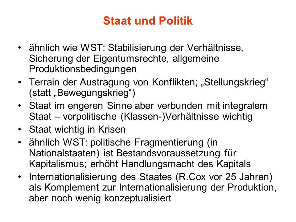 Staat und Politik ähnlich wie WST: Stabilisierung der Verhältnisse, Sicherung der Eigentumsrechte, allgemeine Produktionsbedingungen.