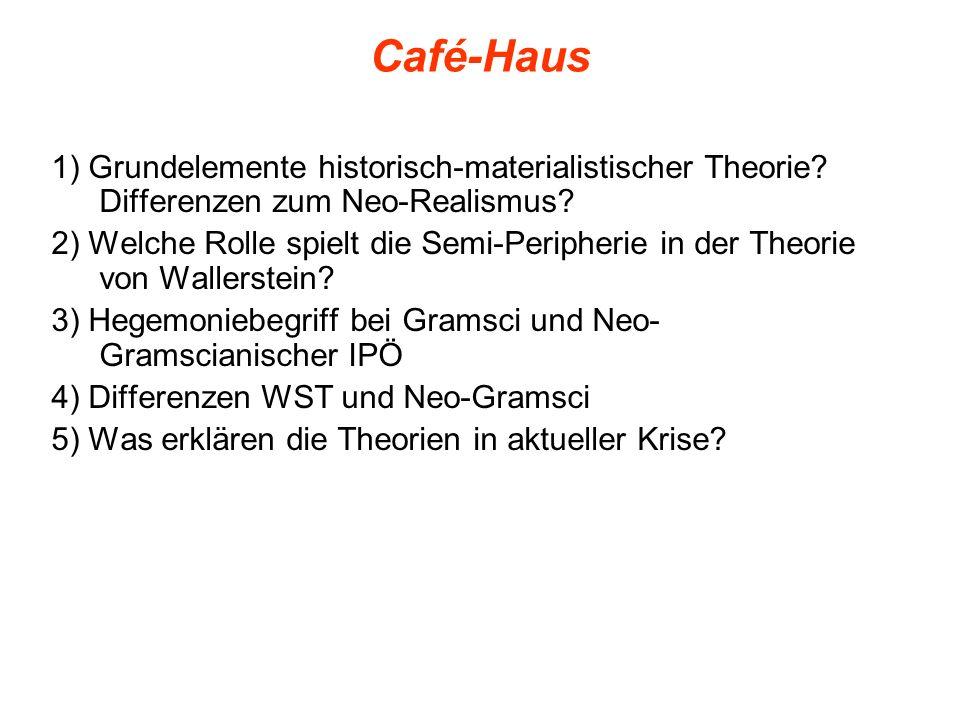 Café-Haus 1) Grundelemente historisch-materialistischer Theorie Differenzen zum Neo-Realismus