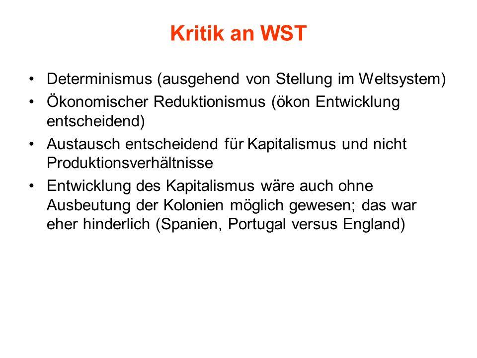 Kritik an WST Determinismus (ausgehend von Stellung im Weltsystem)