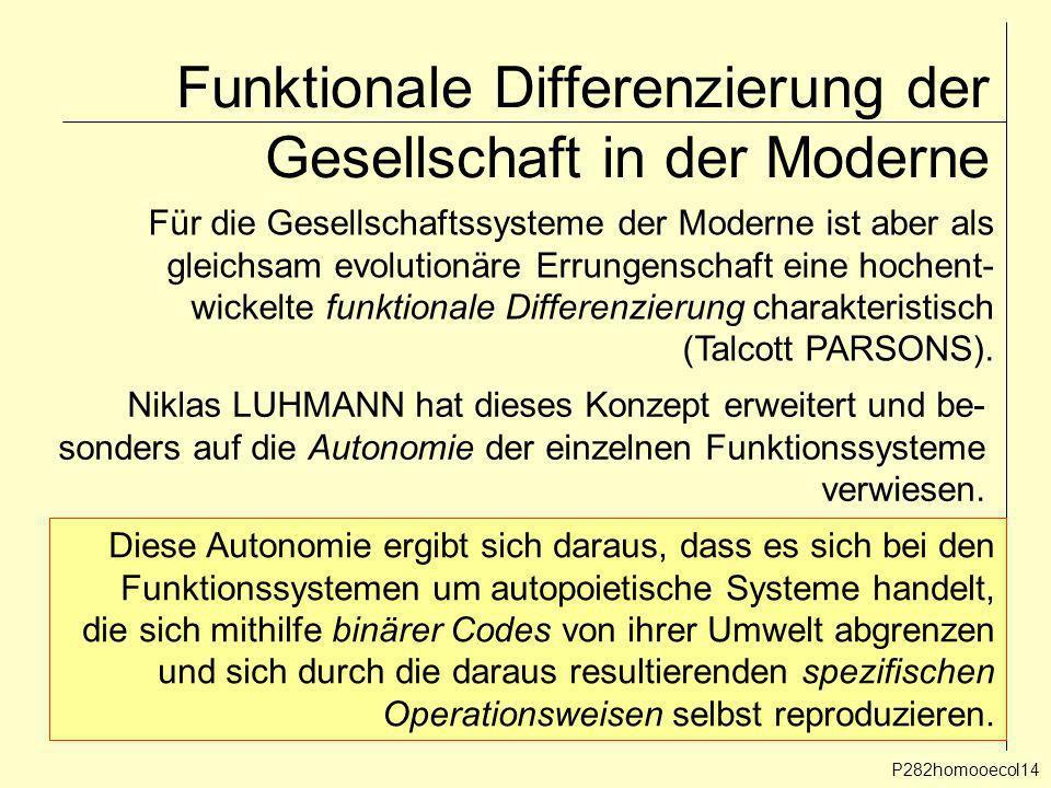 Funktionale Differenzierung der Gesellschaft in der Moderne