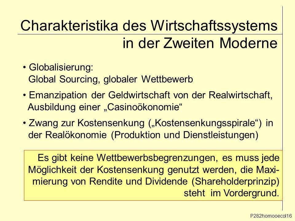 Charakteristika des Wirtschaftssystems in der Zweiten Moderne