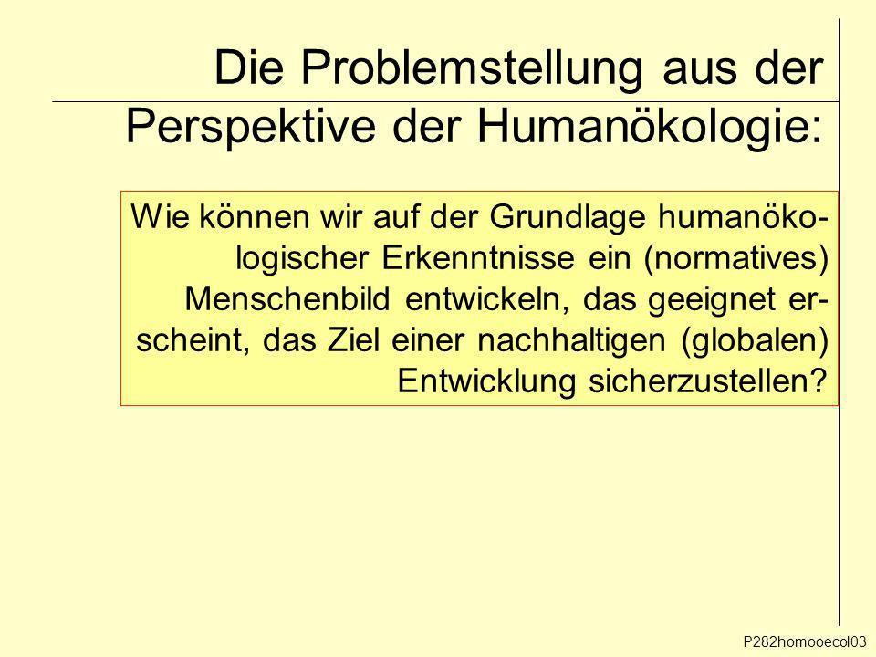 Die Problemstellung aus der Perspektive der Humanökologie: