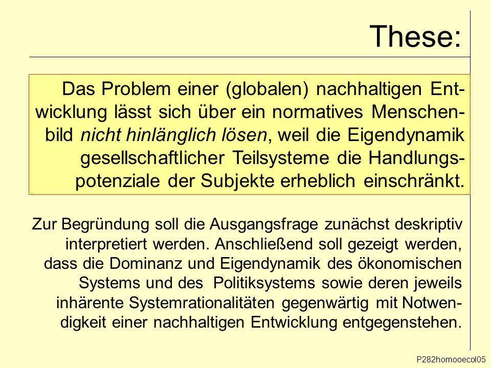These: Das Problem einer (globalen) nachhaltigen Ent-