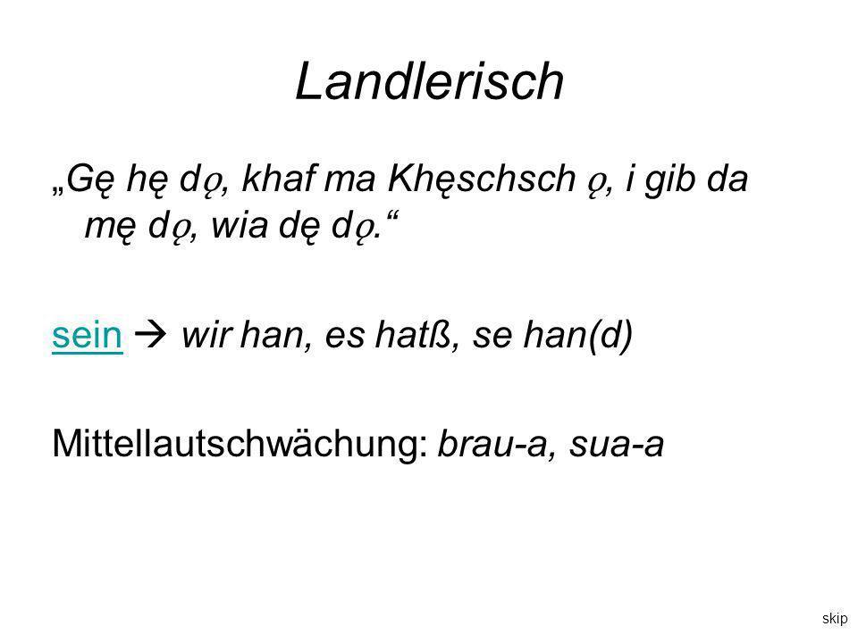 """Landlerisch """"Gę hę dǫ, khaf ma Khęschsch ǫ, i gib da mę dǫ, wia dę dǫ. sein  wir han, es hatß, se han(d)"""