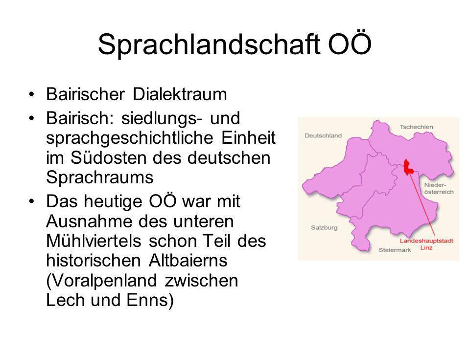 Sprachlandschaft OÖ Bairischer Dialektraum