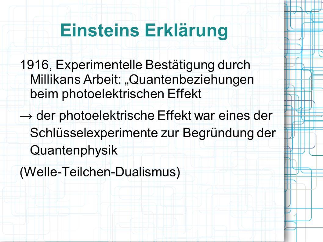 """Einsteins Erklärung 1916, Experimentelle Bestätigung durch Millikans Arbeit: """"Quantenbeziehungen beim photoelektrischen Effekt."""