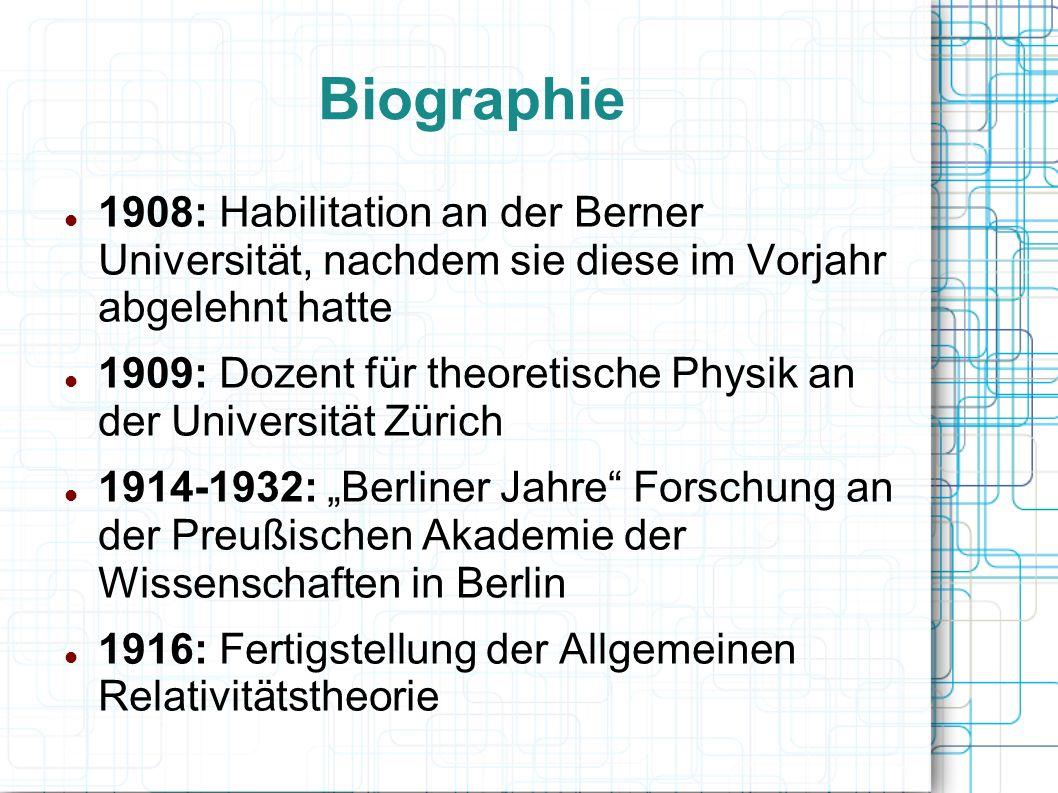 Biographie 1908: Habilitation an der Berner Universität, nachdem sie diese im Vorjahr abgelehnt hatte.