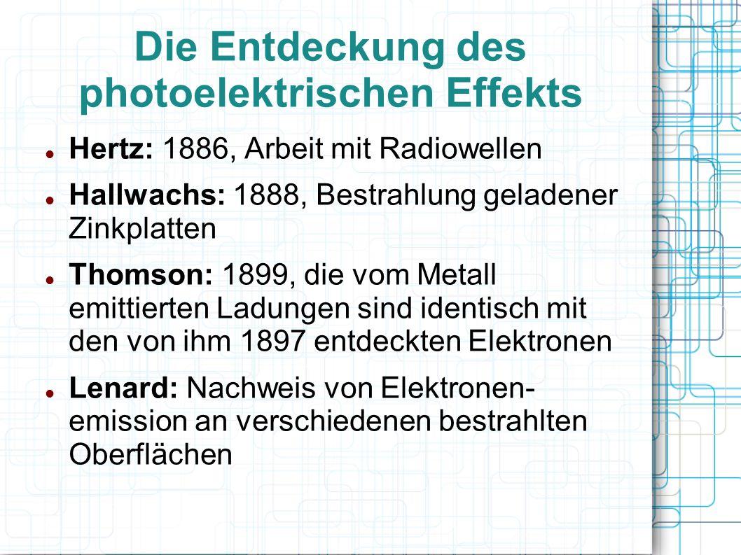 Die Entdeckung des photoelektrischen Effekts