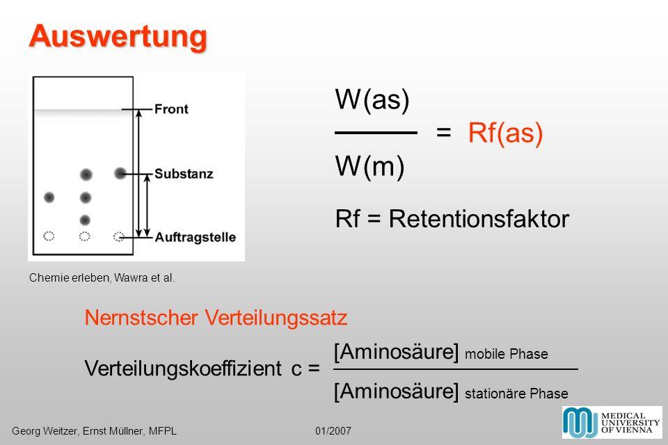 Auswertung W(as) = Rf(as) W(m) Rf = Retentionsfaktor