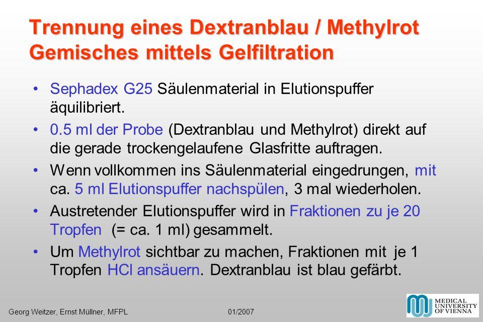 Trennung eines Dextranblau / Methylrot Gemisches mittels Gelfiltration