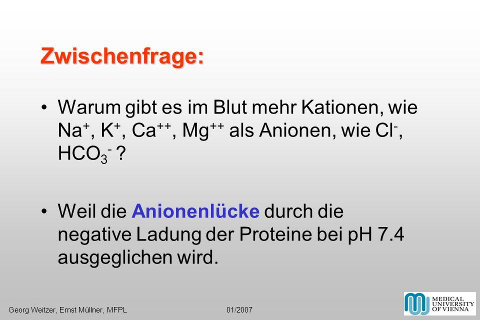 Zwischenfrage: Warum gibt es im Blut mehr Kationen, wie Na+, K+, Ca++, Mg++ als Anionen, wie Cl-, HCO3-