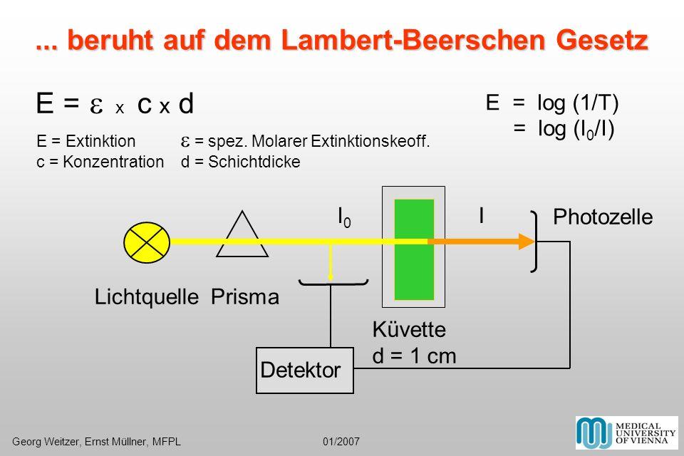E = e x c x d ... beruht auf dem Lambert-Beerschen Gesetz