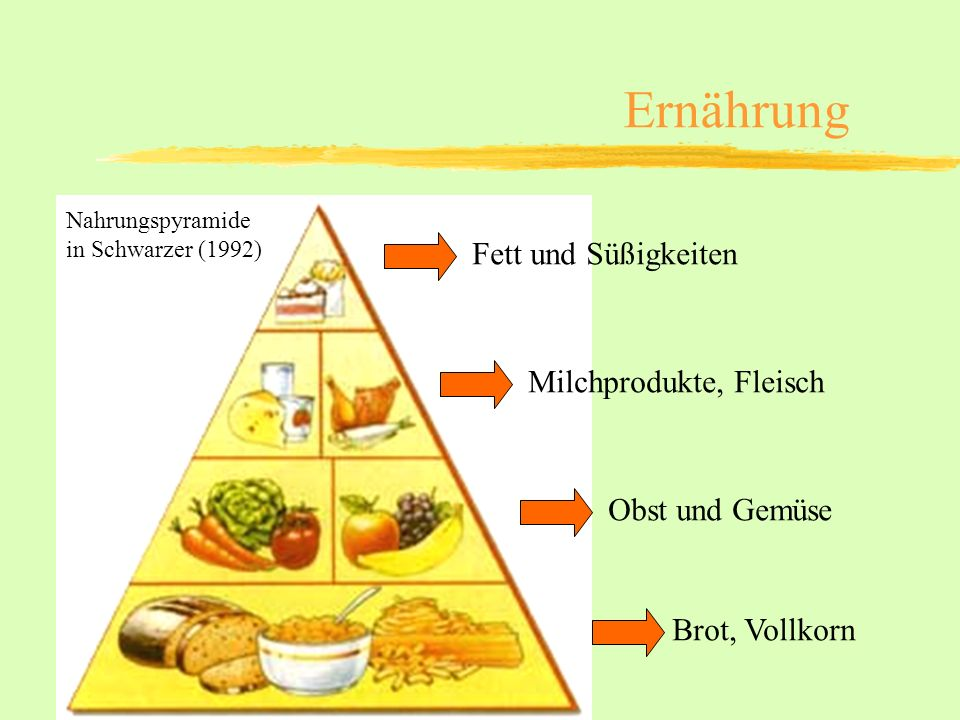 Ernährung Fett und Süßigkeiten Milchprodukte, Fleisch Obst und Gemüse