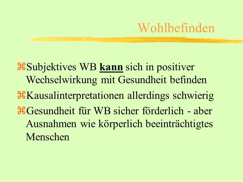 Wohlbefinden Subjektives WB kann sich in positiver Wechselwirkung mit Gesundheit befinden. Kausalinterpretationen allerdings schwierig.