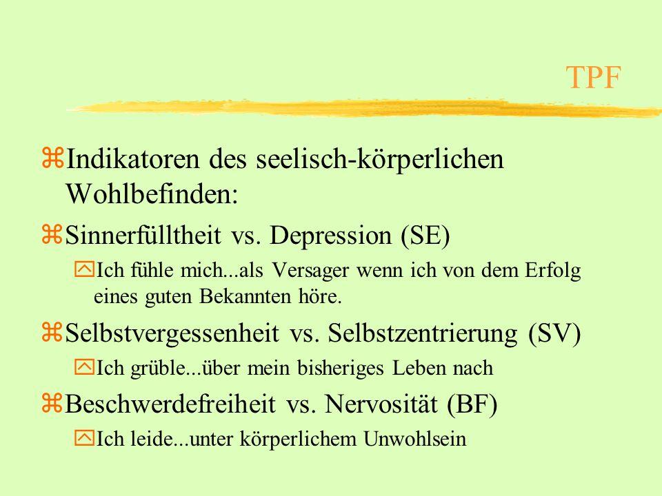 TPF Indikatoren des seelisch-körperlichen Wohlbefinden:
