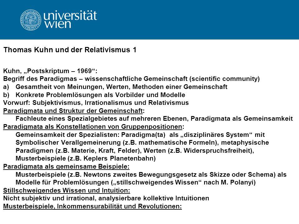 Thomas Kuhn und der Relativismus 1