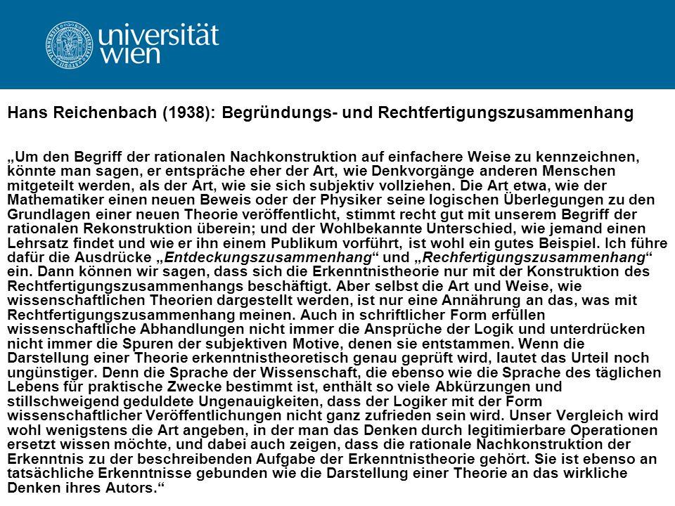 Hans Reichenbach (1938): Begründungs- und Rechtfertigungszusammenhang