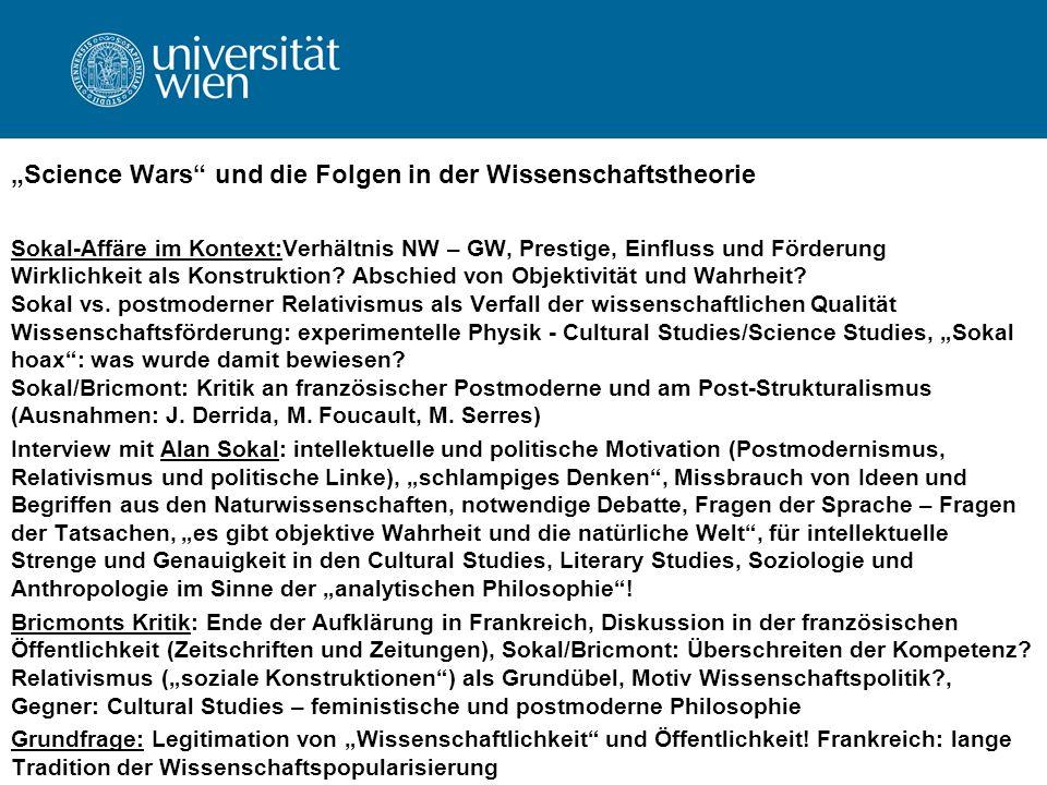 """""""Science Wars und die Folgen in der Wissenschaftstheorie"""