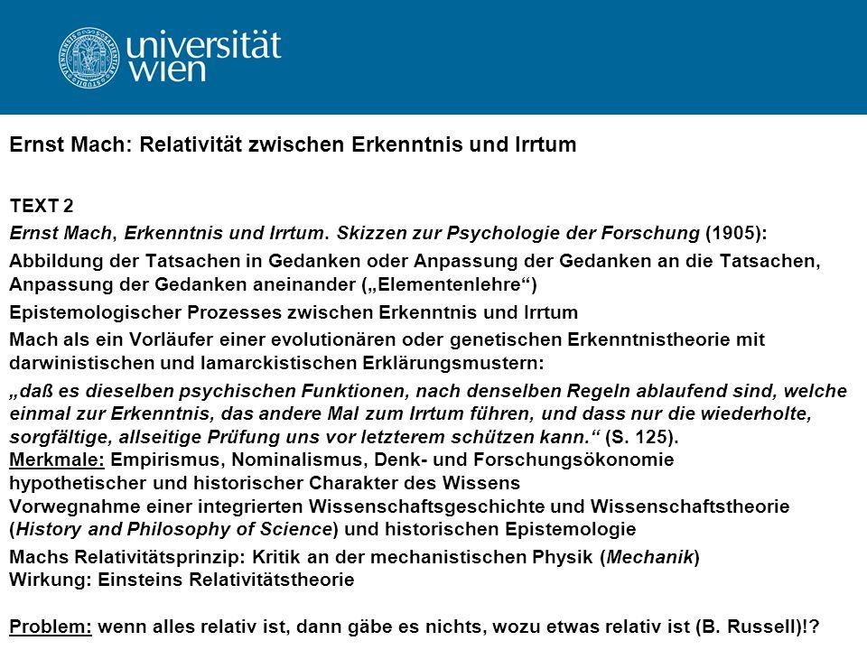 Ernst Mach: Relativität zwischen Erkenntnis und Irrtum