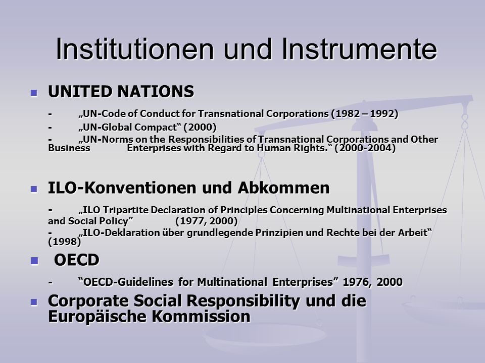 Institutionen und Instrumente