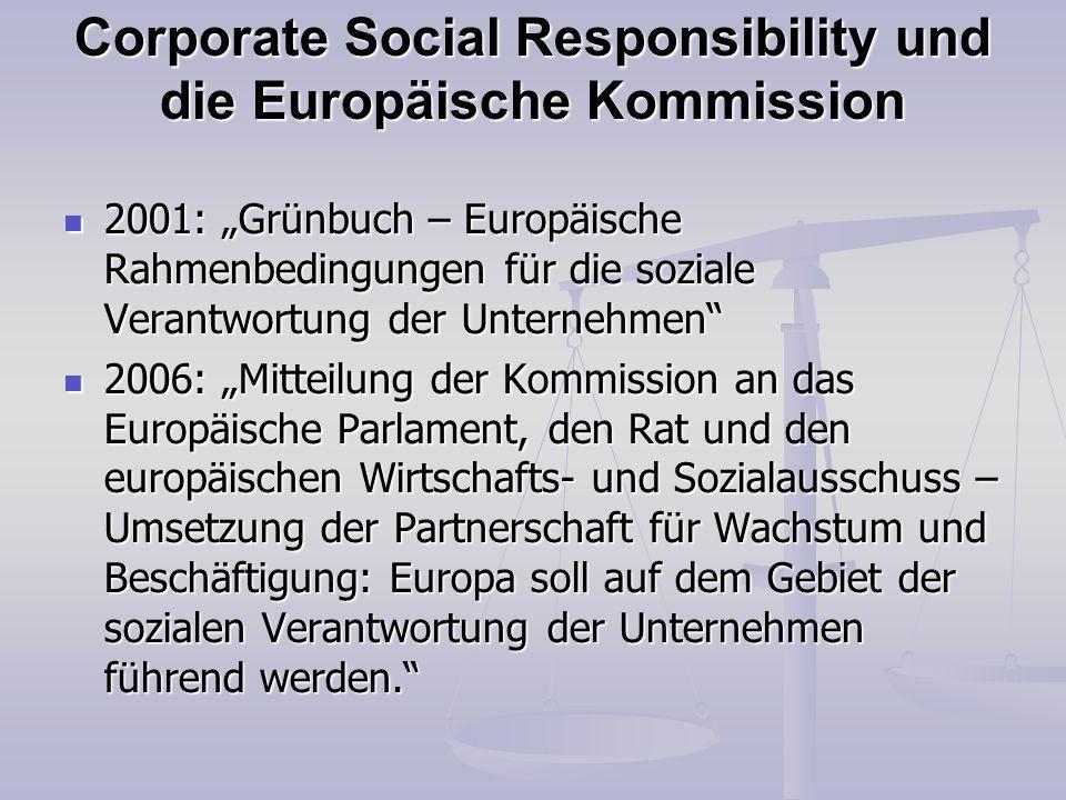 Corporate Social Responsibility und die Europäische Kommission