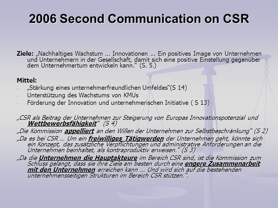 2006 Second Communication on CSR
