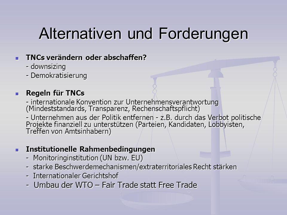 Alternativen und Forderungen
