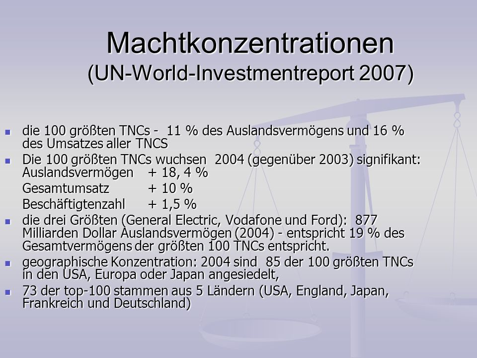Machtkonzentrationen (UN-World-Investmentreport 2007)