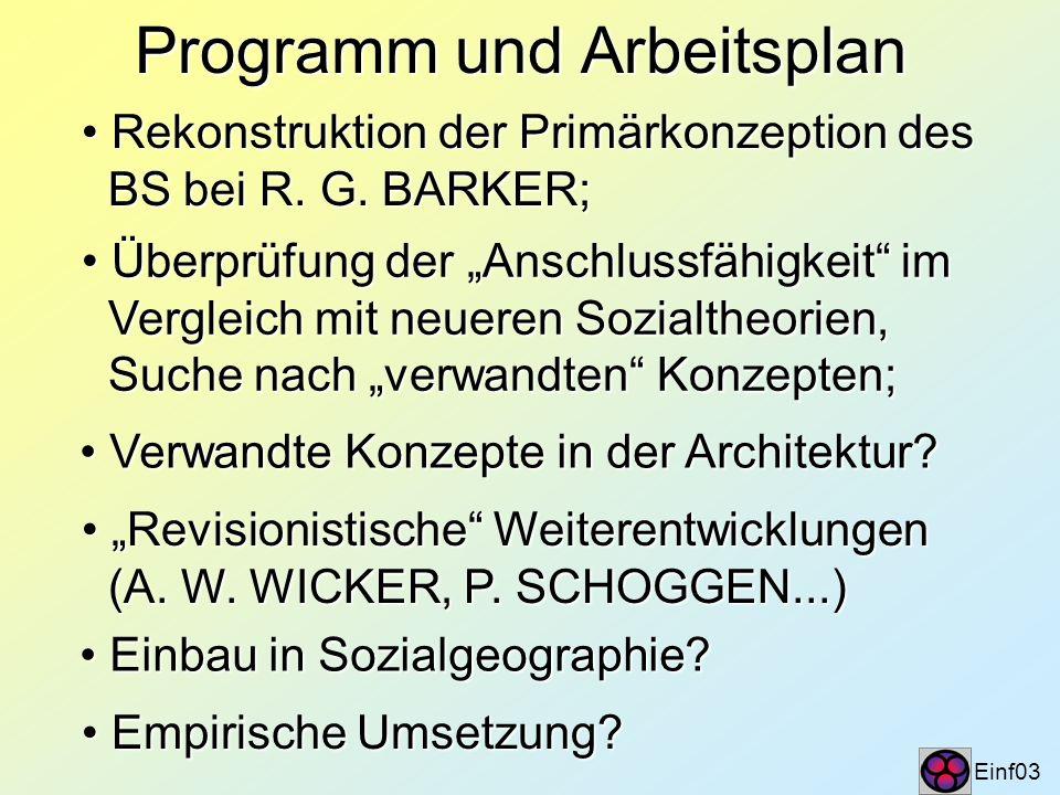 Programm und Arbeitsplan