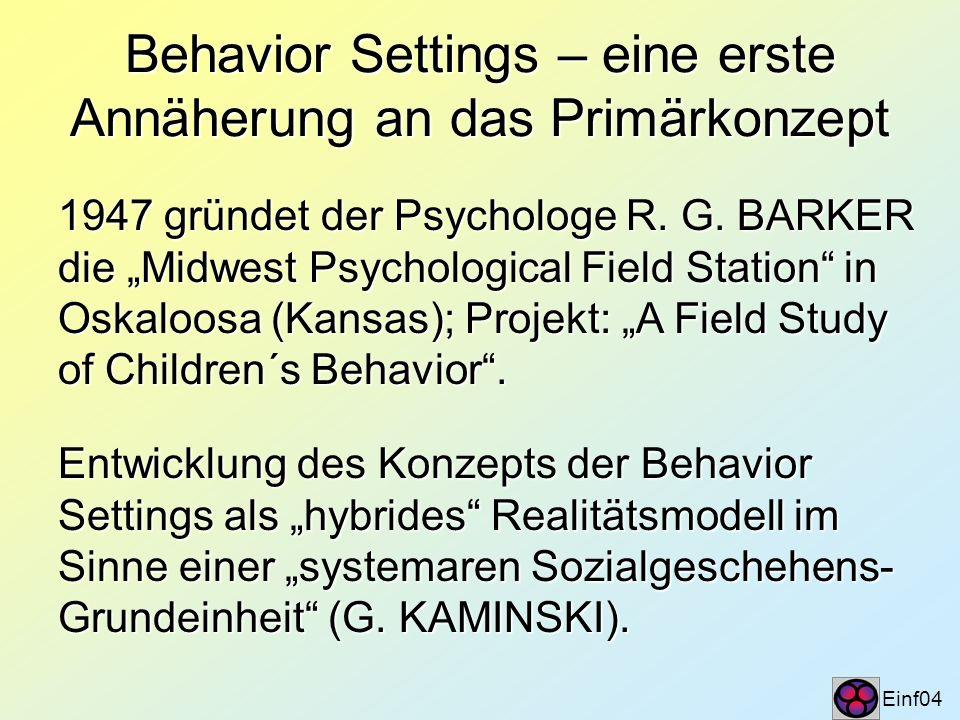 Behavior Settings – eine erste Annäherung an das Primärkonzept