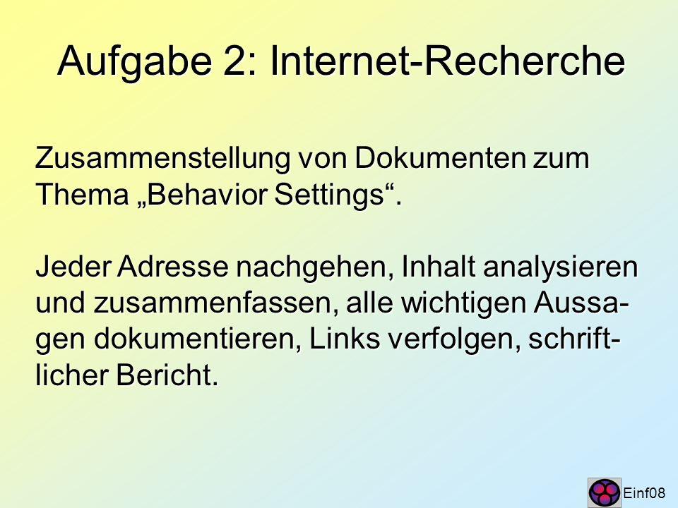 Aufgabe 2: Internet-Recherche