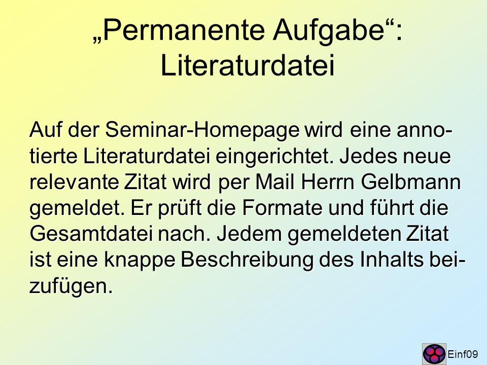 """Permanente Aufgabe : Literaturdatei"