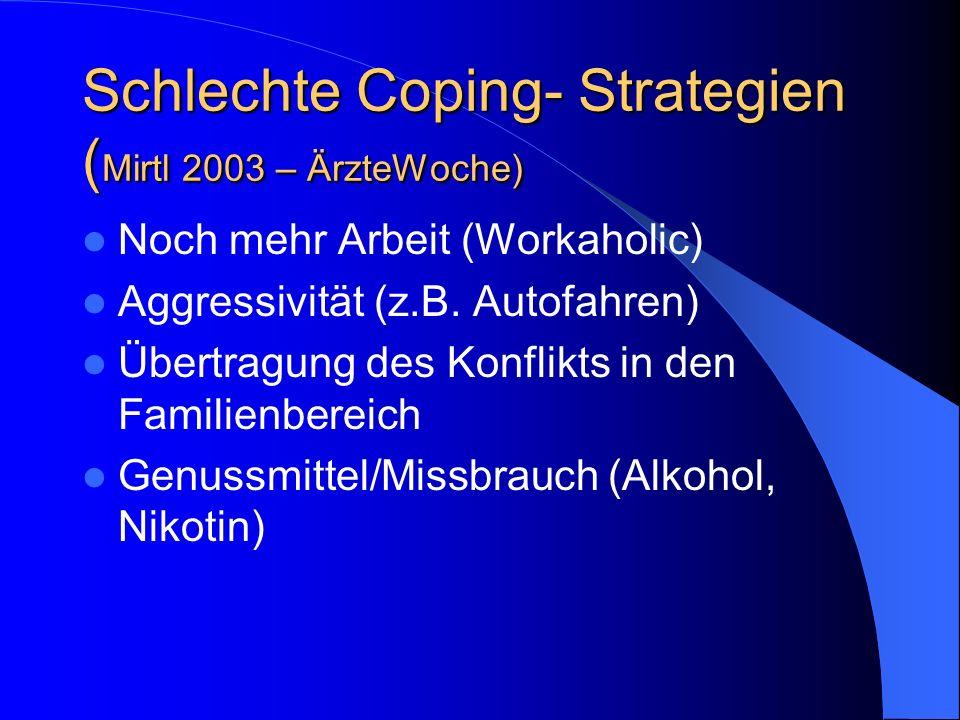 Schlechte Coping- Strategien (Mirtl 2003 – ÄrzteWoche)