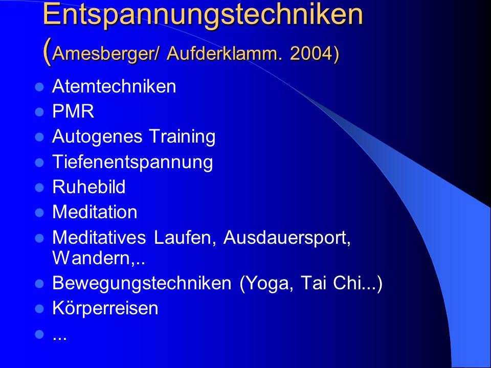 Entspannungstechniken (Amesberger/ Aufderklamm. 2004)
